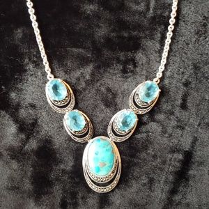 Silver turquoise and topaz necklace